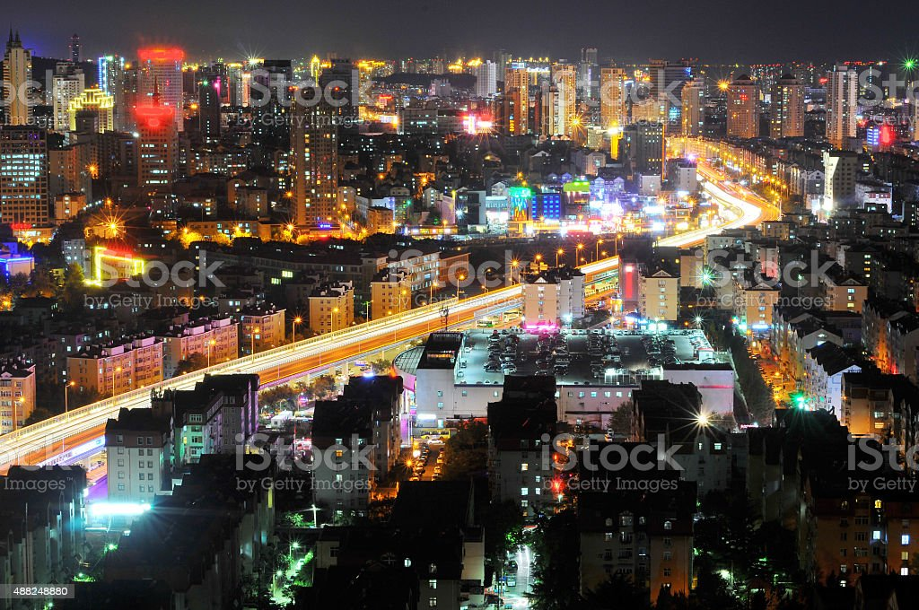 City night scene stock photo
