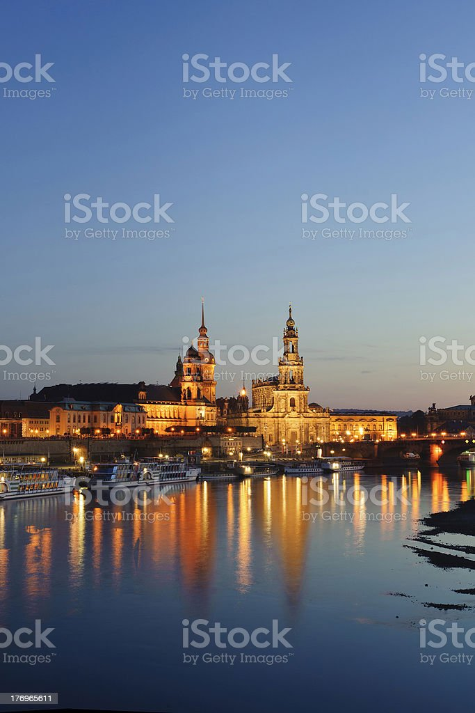 city night scenery with  historic buildings in Dresden. stock photo