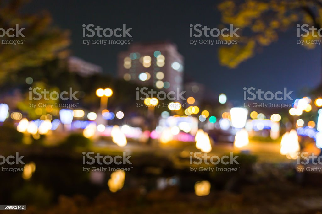 City night time with lights blur bokeh. stock photo