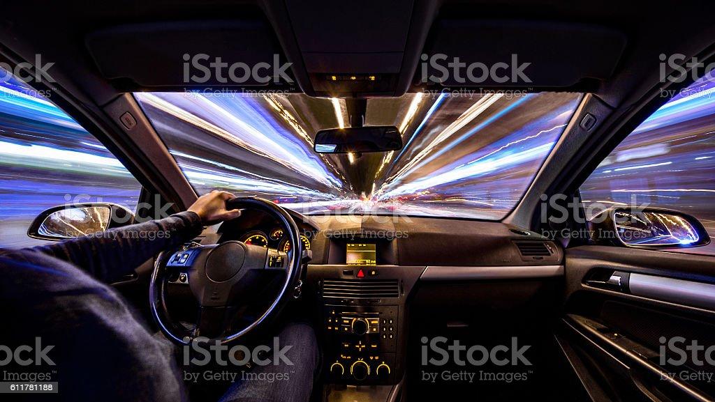 city night velocity motion car inside urban barcelona long exposure stock photo