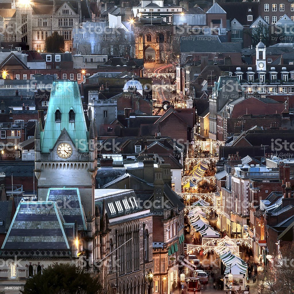 City night view at Christmas stock photo