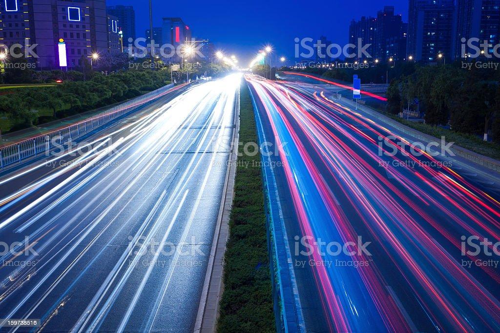 City  night view Car taillight trajectory royalty-free stock photo