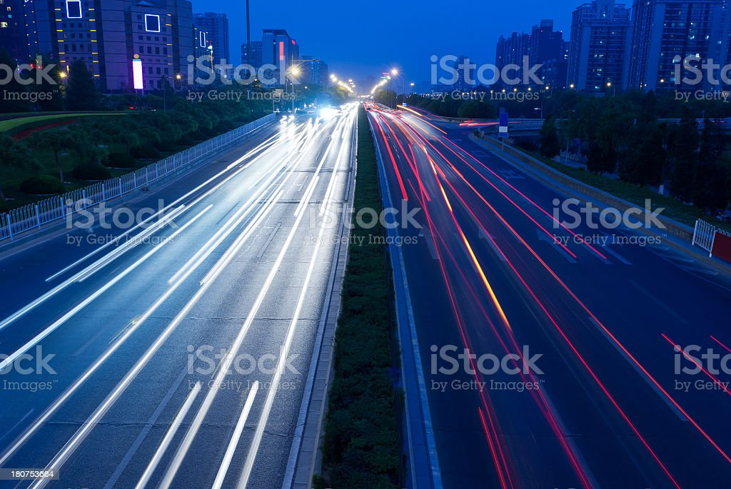 City night view Car taillight trajectory stock photo