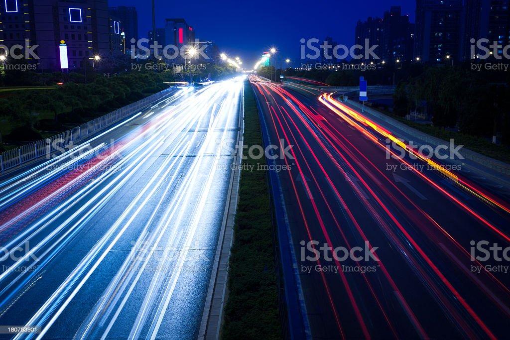 City  night view Car taillight trajectory stock photo