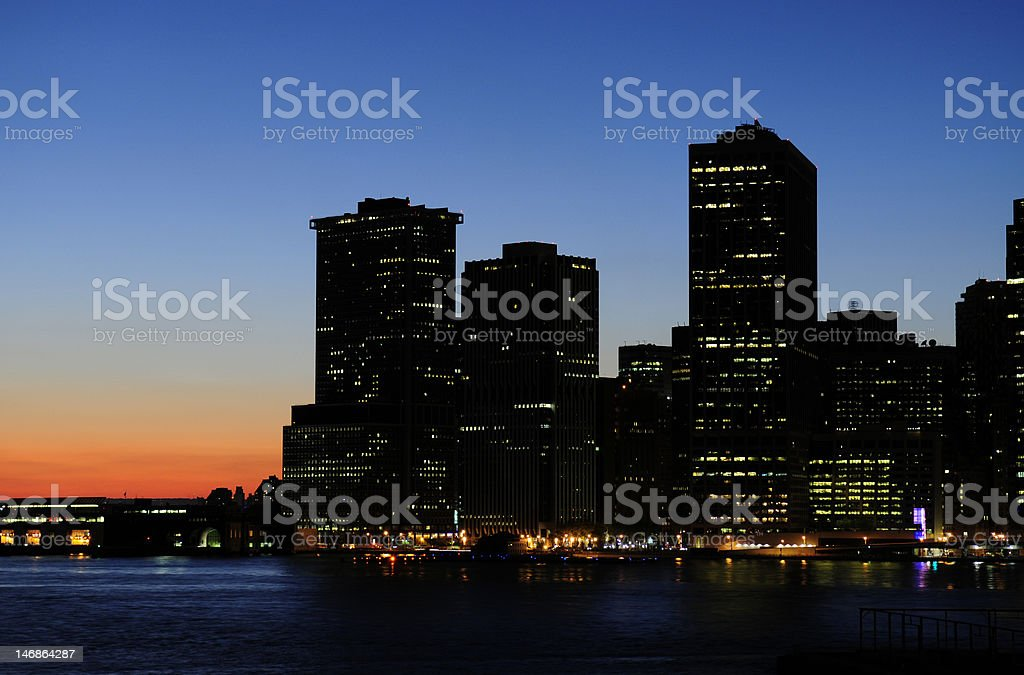 City night view from Brooklyn to Manhattan royalty-free stock photo