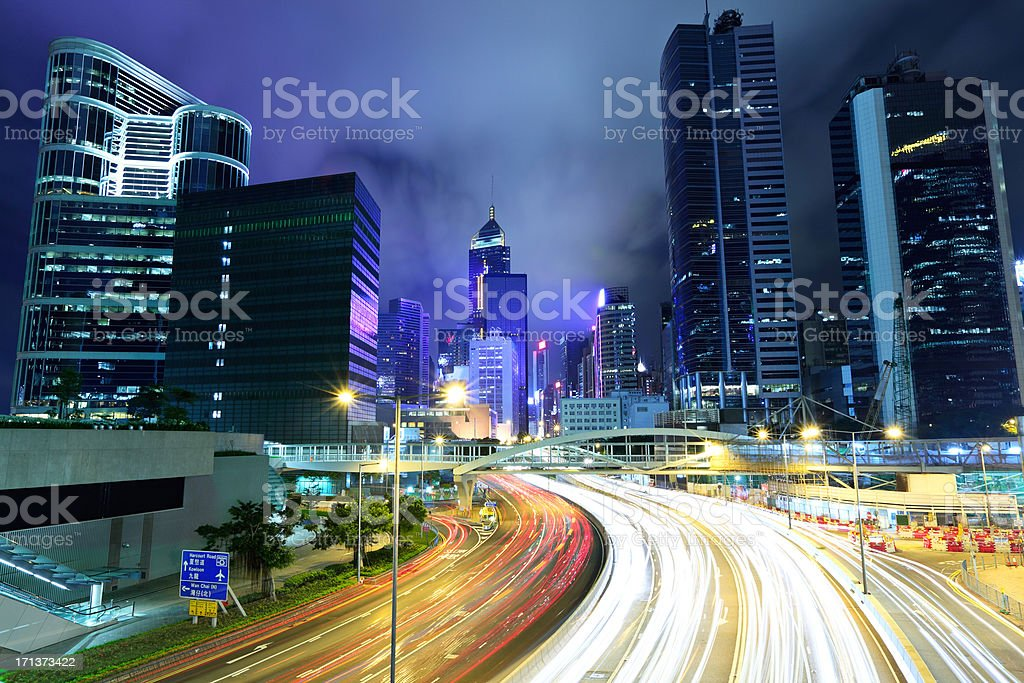 city night with traffic royalty-free stock photo
