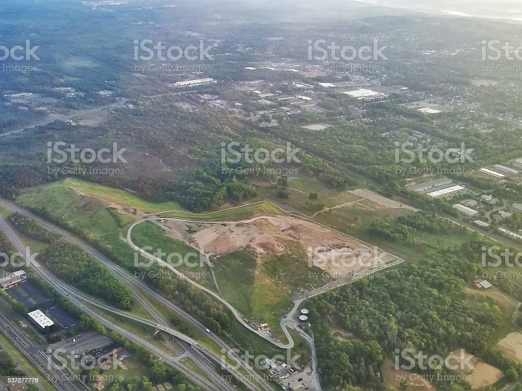 City of Albany Landfill Garbage Dump Aerial View, Colonie, NY stock photo