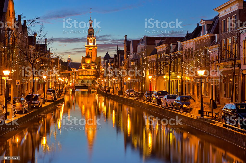 City of Alkmaar, The Netherlands at night stock photo