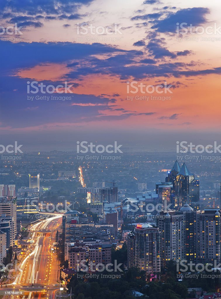City of Almaty at sunset stock photo
