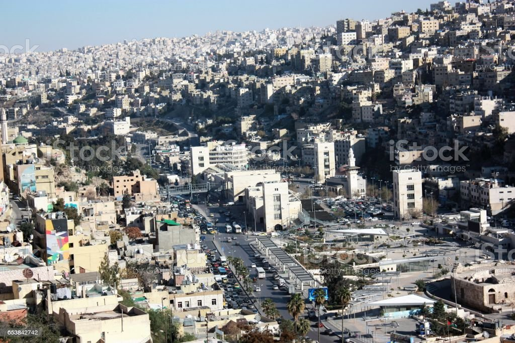 City of Amman view from Citadel Hill, Jordan Middle East stock photo