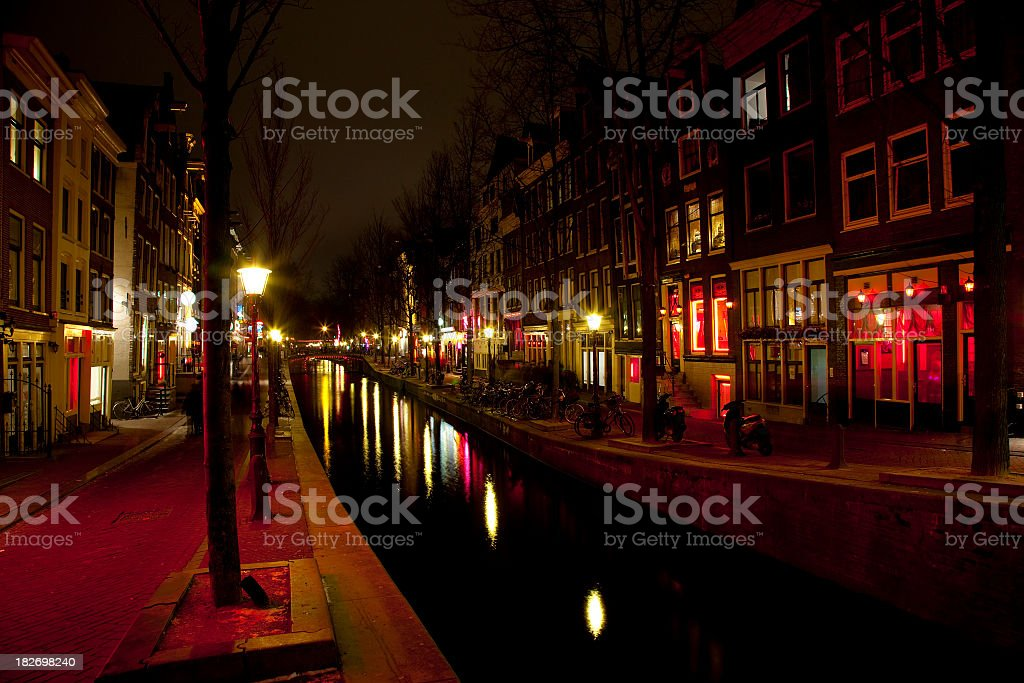 City of Amsterdam Red Light District at Night royalty-free stock photo