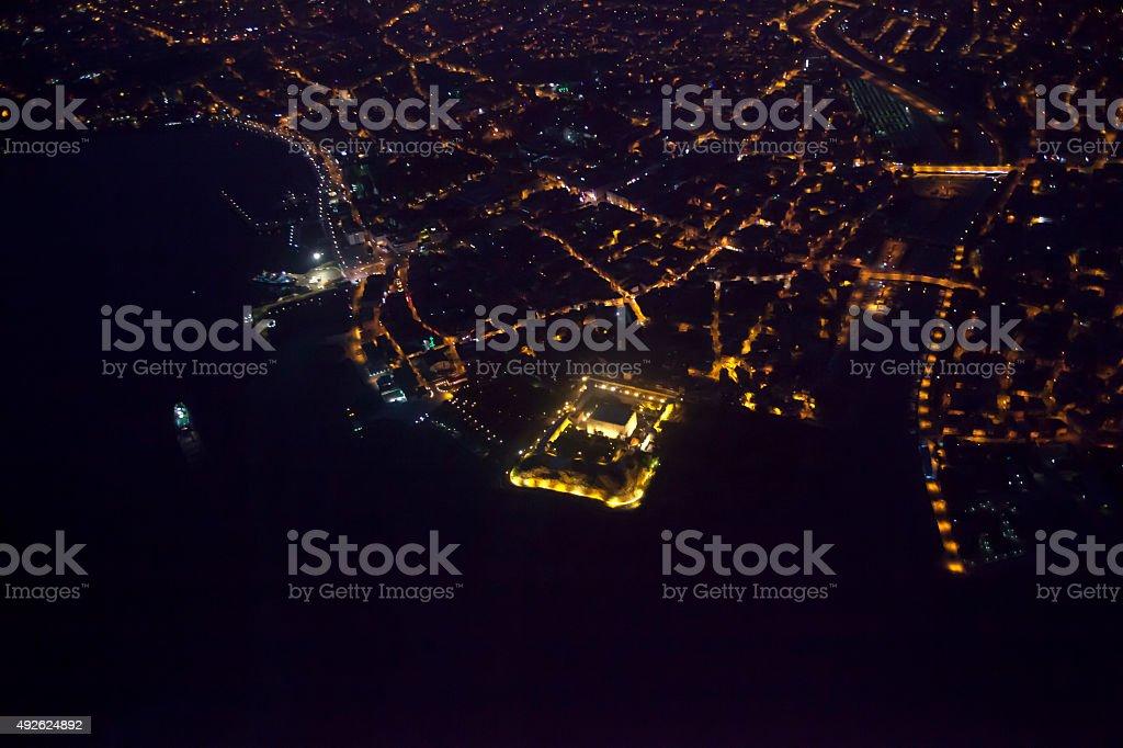City of Çanakkale at night in Turkey stock photo