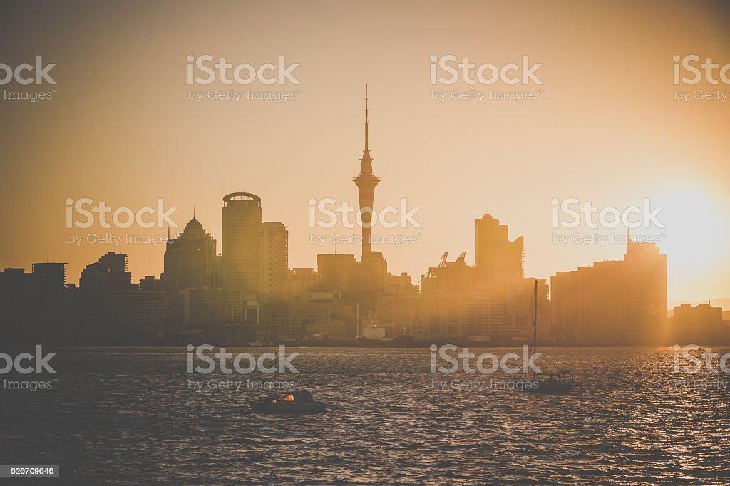City of Auckland Skyline at Sunset, New Zealand stock photo