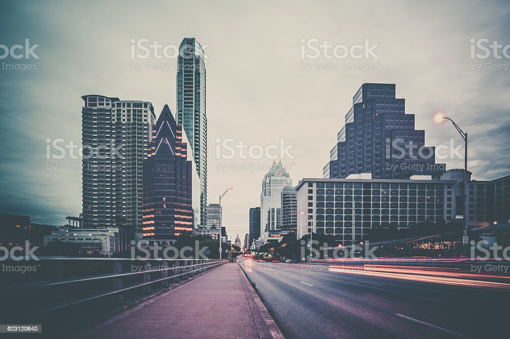 City of Austin Texas Congress Avenue at Dawn stock photo