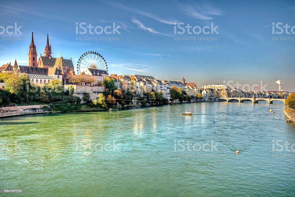 City of Basel in Switzerland stock photo
