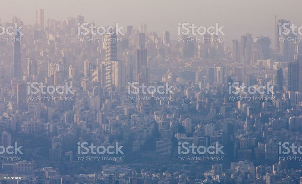 City of Beirut aerial view. Fog and air pollution in modern city. stock photo