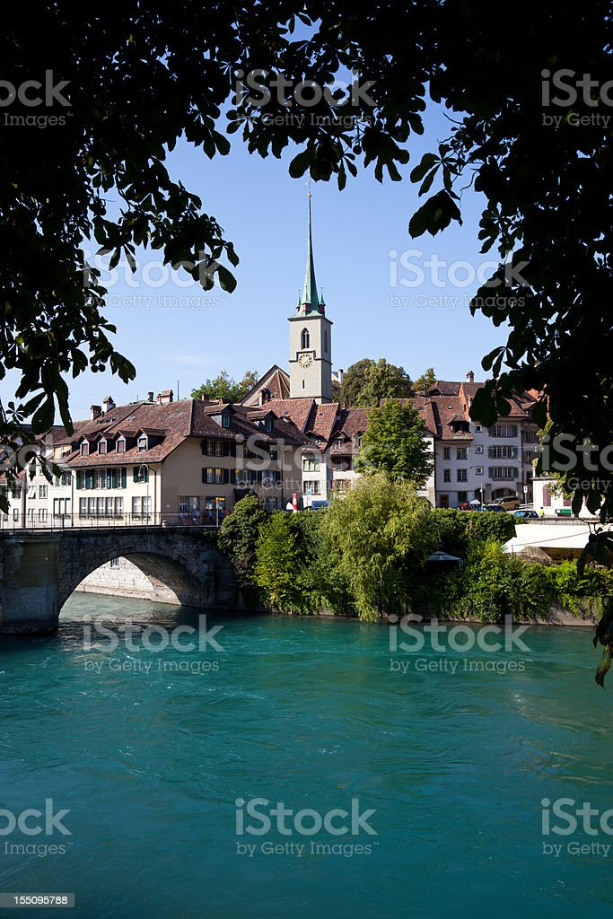 City of Bern with Lake, View From a Bridge, Switzerland stock photo