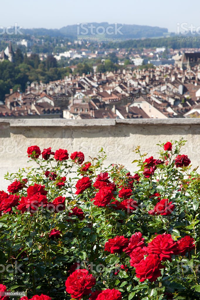 City of Bern with Red Flowers, Switzerland royalty-free stock photo