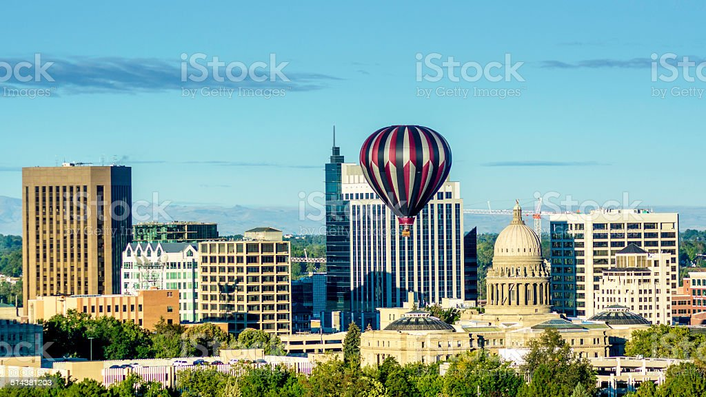 City of Boise Idaho skyline and hot air balloon stock photo