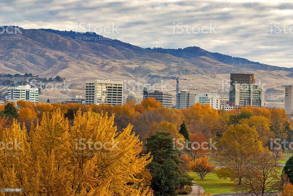City of Boise Idaho with autumn colors stock photo