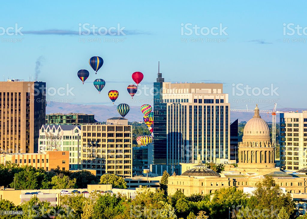 City of Boise skyline with hot air balloons stock photo
