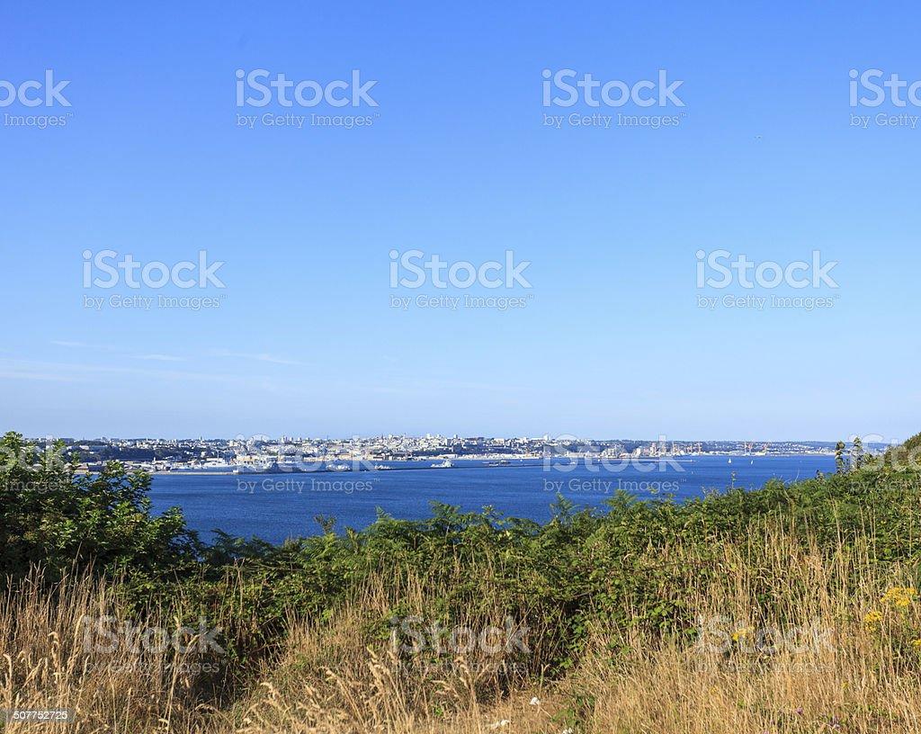 City of Brest, Bretagne France from pointe des Espagnols stock photo