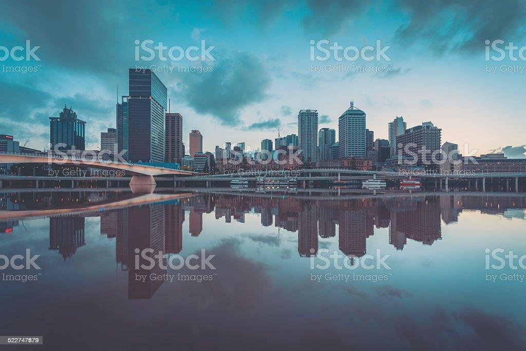 City of Brisbane at Sunset, Australia stock photo