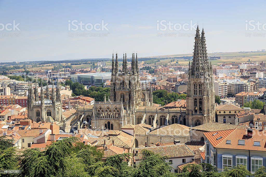 City of Burgos and the Cathedral stock photo