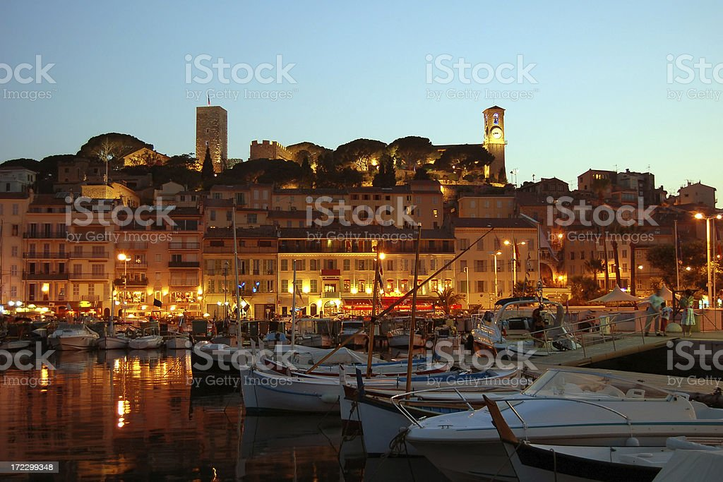 City of Cannes in the evening stock photo