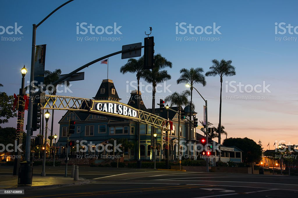 City of Carlsbad, California Sign Illuminated at Dawn stock photo