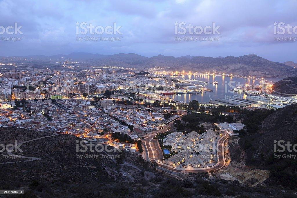 City of Cartagena at night, Spain stock photo