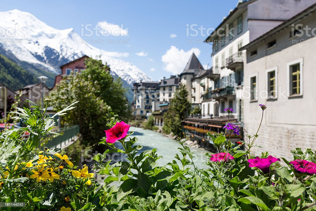 City of Chamonix and Flowers In Summer, France royalty-free stock photo