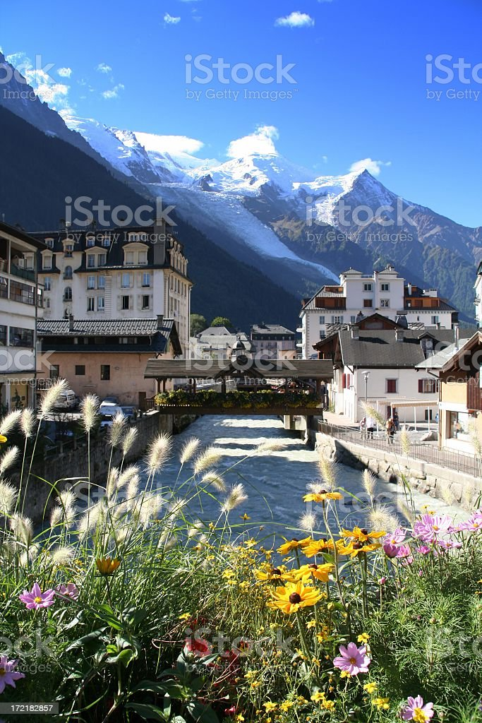 City of Chamonix, France in the Morning stock photo