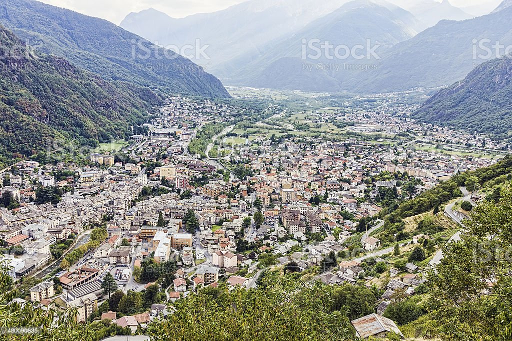 City of Chiavenna, at the cave's festival. stock photo