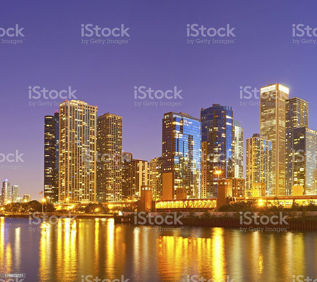 City of Chicago USA, colorful skyline panorama at sunset stock photo