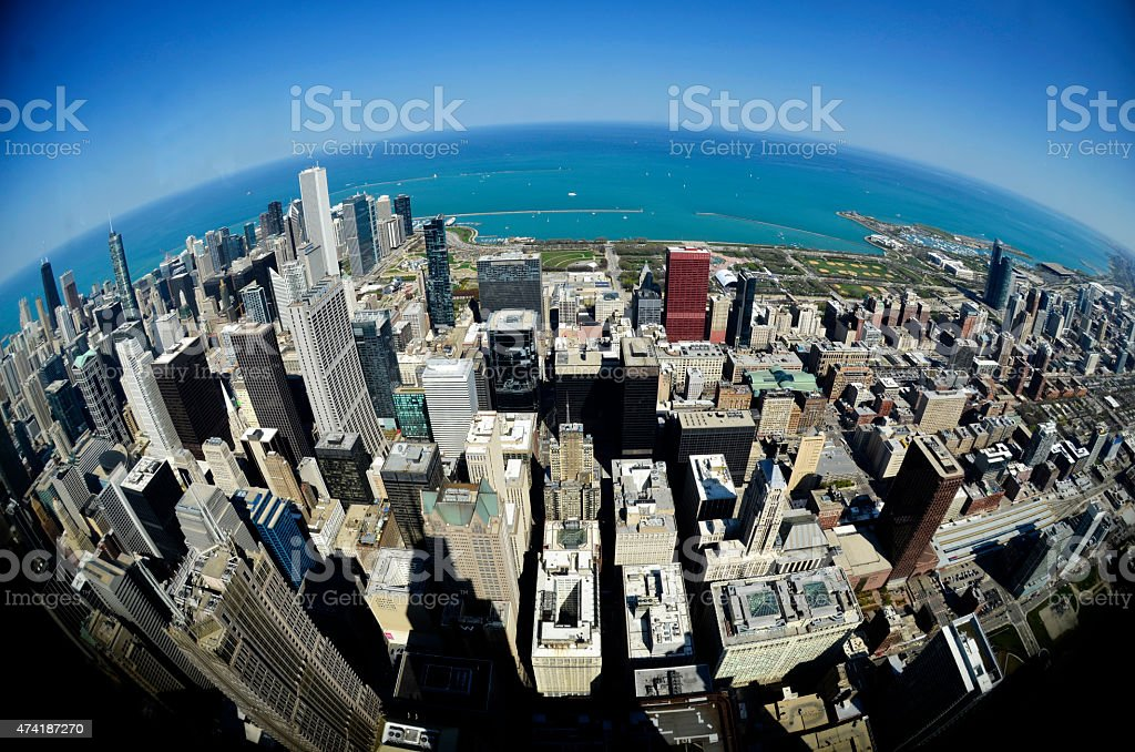 City of Chicago with Fisheye Lens stock photo
