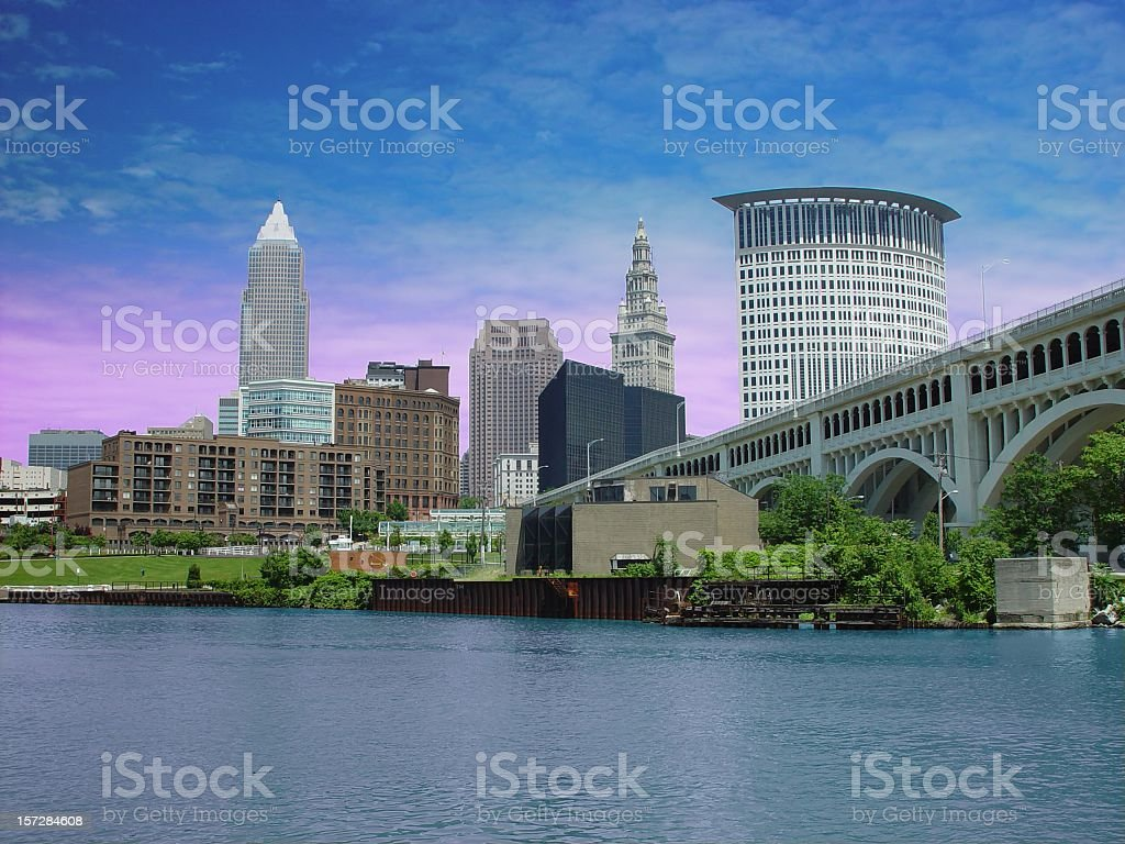 City Of Cleveland and Cuyahoga River. stock photo