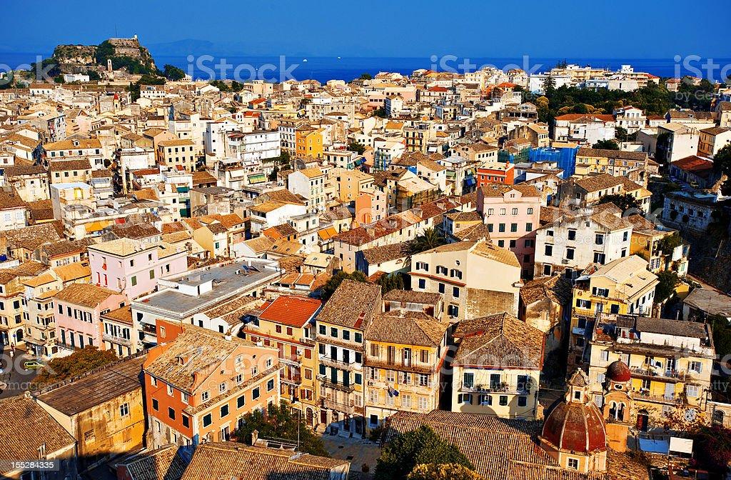 City of Corfu stock photo