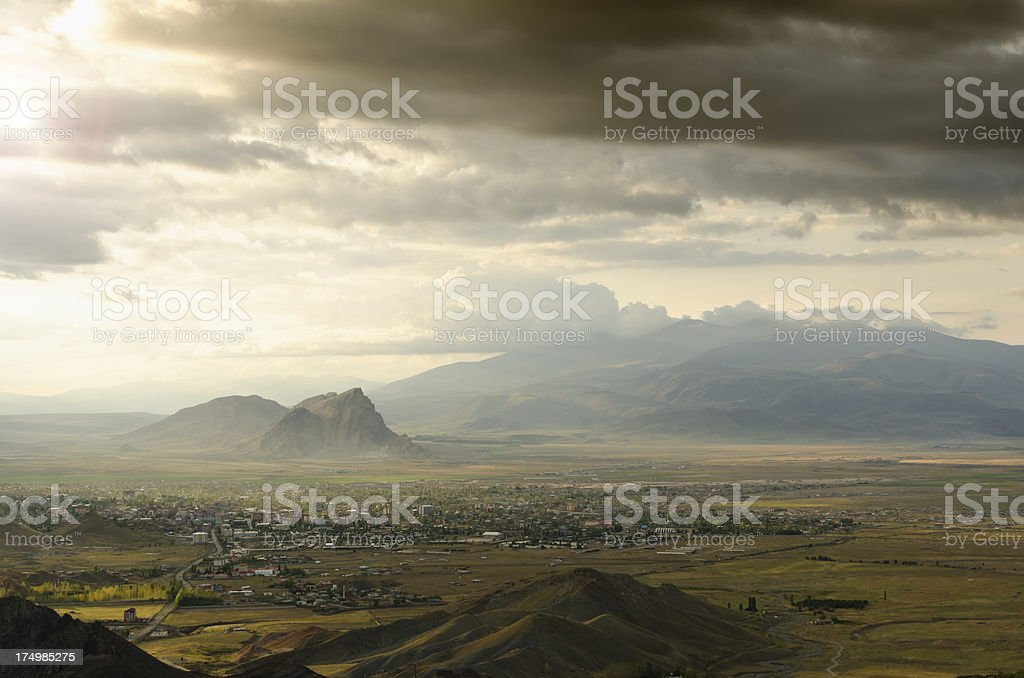 City of Dogubayazit and lesser Ararat in Turkey stock photo