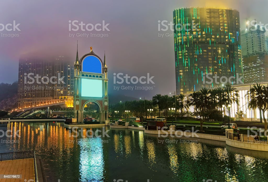 City of Dreams and Canal of Venetian in Macau stock photo