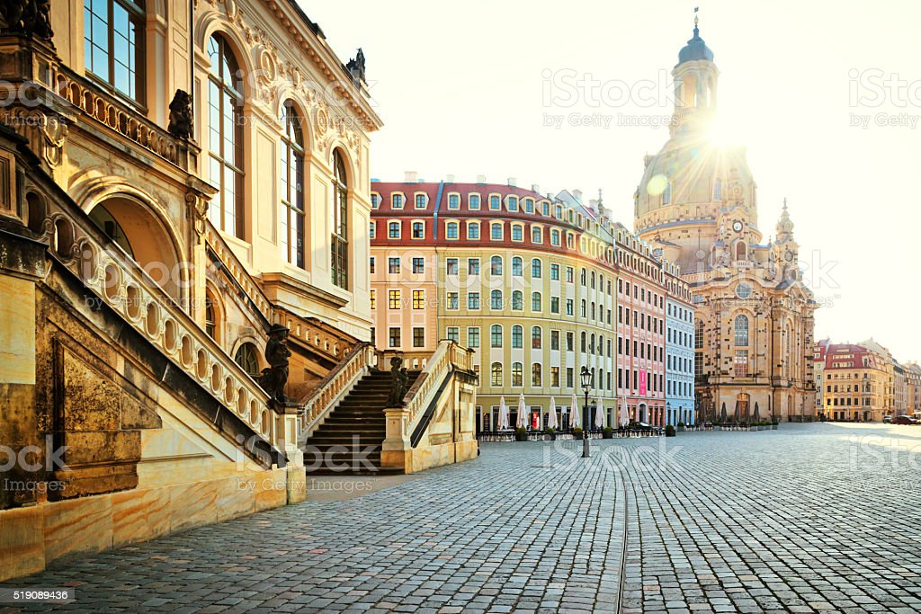 City of Dresden with Frauenkirche (Church of Our Lady) stock photo