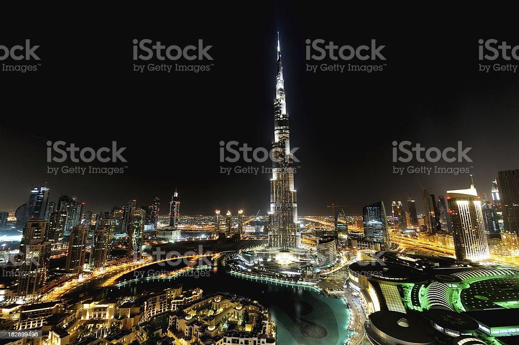 city of dubai at night stock photo