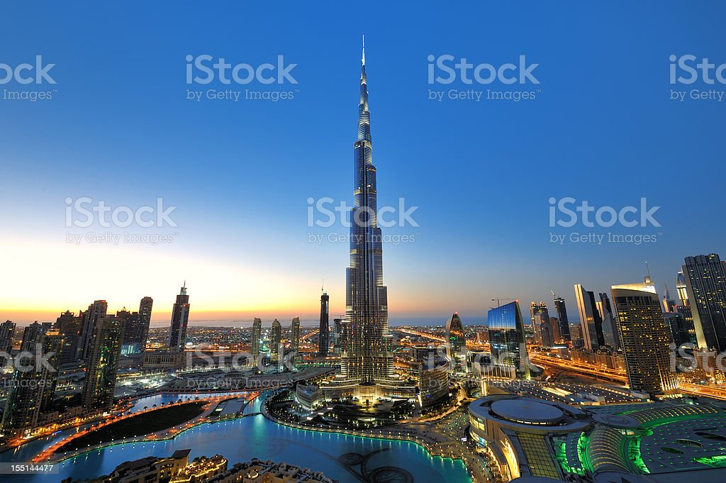 City of Dubai at sunset stock photo
