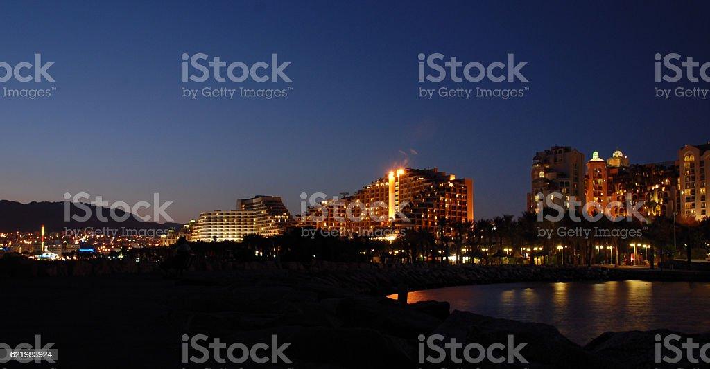 City of Eilat at night stock photo