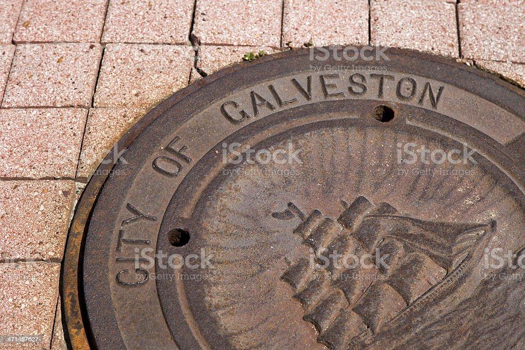 City of Galveston Man Hole Cover stock photo