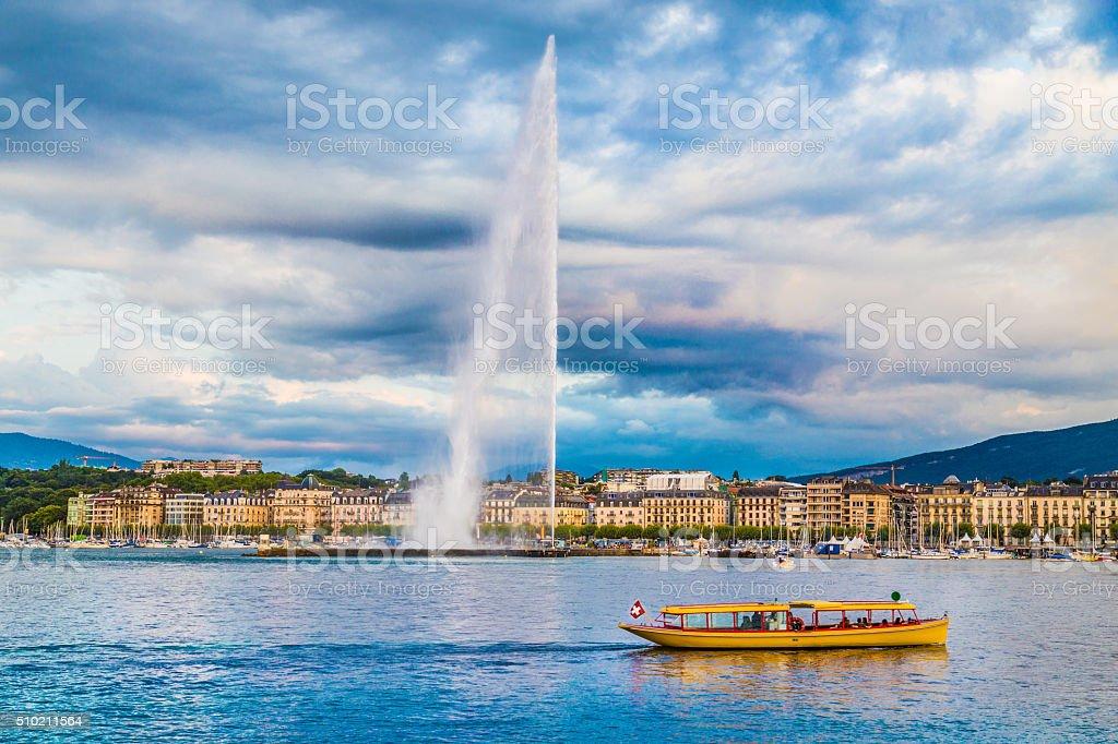 City of Geneva with Jet d'Eau fountain at sunset, Switzerland stock photo