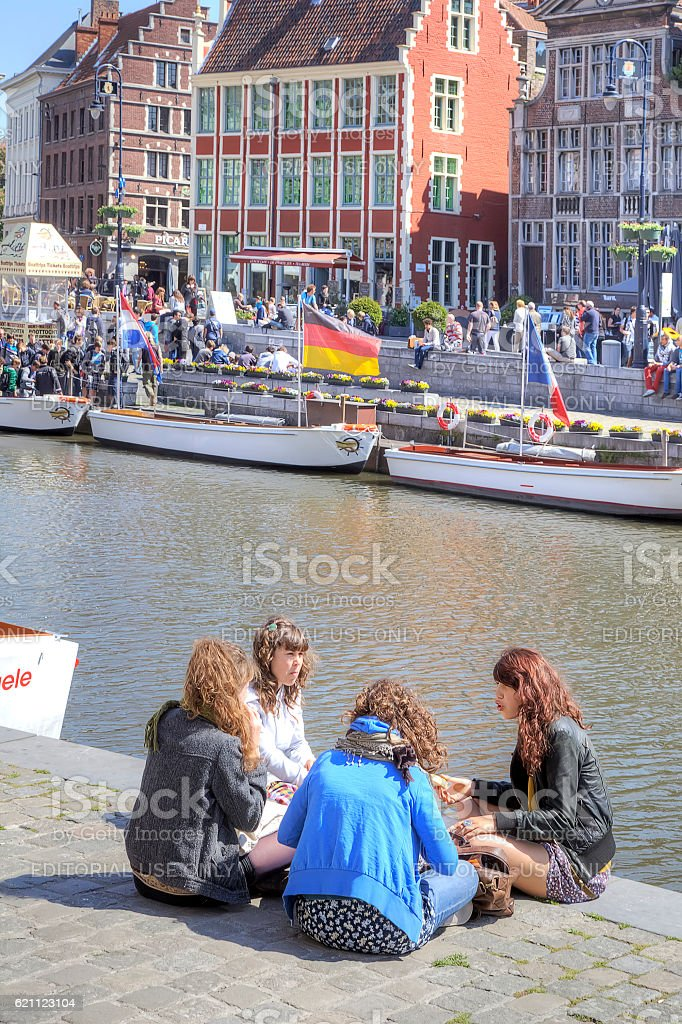 City of Ghent. Urban landscape. Girl-friends stock photo