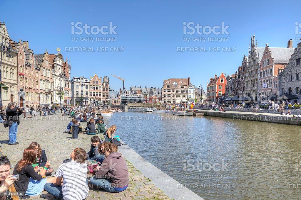 City of Ghent. Urban landscape stock photo