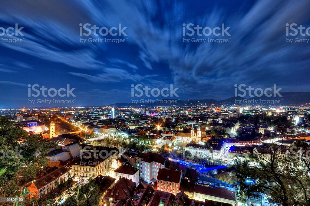 City of Graz at night, Austria stock photo