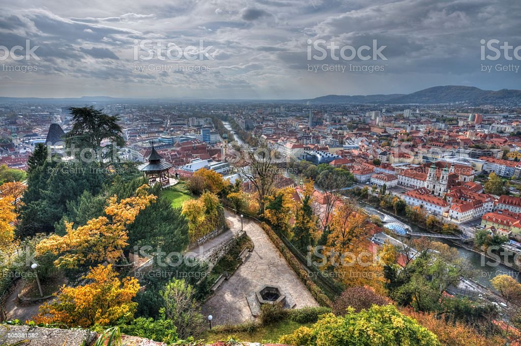 City of Graz in Austria from above stock photo